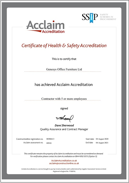 Genesys Acclaim Health & Safety Accreditation
