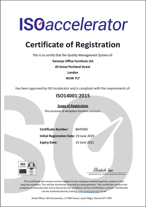 Genesys ISO 14001:2015 Certificate
