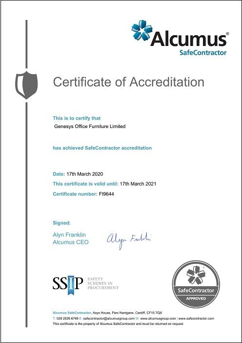 Genesys SafeContractor Certificate
