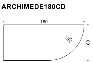 Archimede 180CD Shaped Flip Top Folding Table