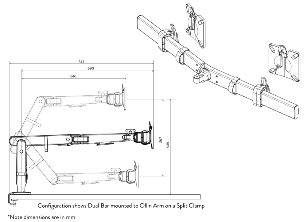Ollin Dual Bar Dimensions