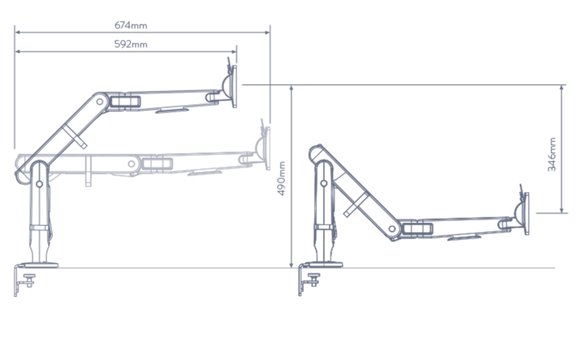 Ollin Monitor Arm Dimensions