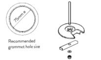Wishbone Monitor Arm Cast Grommet
