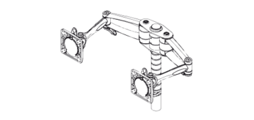 Wishbone Monitor Arms x 2 With Bracket And Post