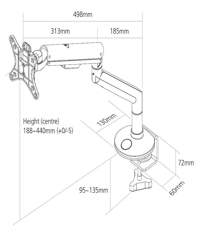 Reach Monitor Arm Dimensions