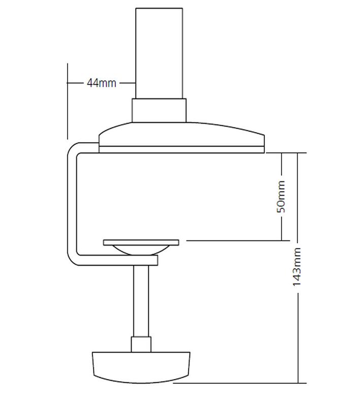 Reach Monitor Arm C Clamp Dimensions