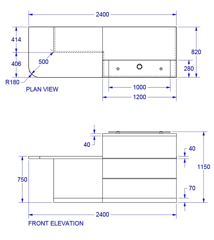 Photo Standard Reception Counter Height Images