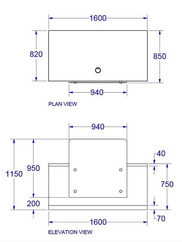 Zed Reception Desk Dimensions