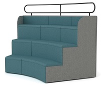 Steps Tiered Auditorium Seating - SSE1 Curved Unit - Dimensions