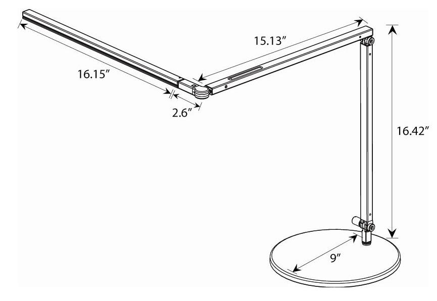 Z-Bar LED Desk Lamp Dimensions