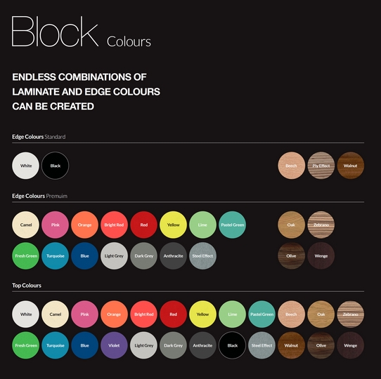 Block Infinity Bench Colours