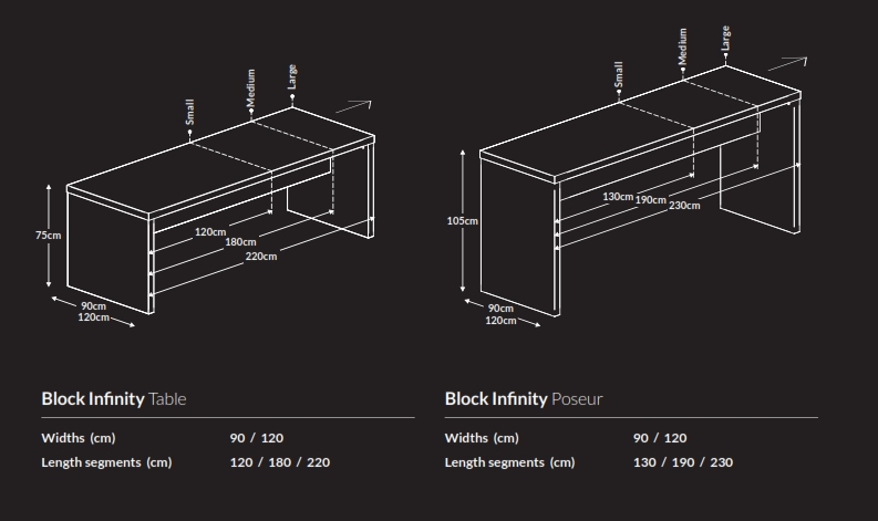 Block Infinity Bench Dimensions