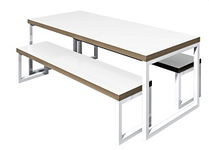 Black Steel Breakout Table And Breakout Bench - White