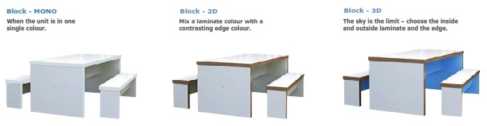 Block Breakout Table | Block Breakout Bench | Colour COmbinations
