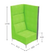 Huddle Modular High Back Seating - High End Left MHL