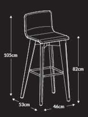 Jig 2-Tone Breakout Stool Dimensions