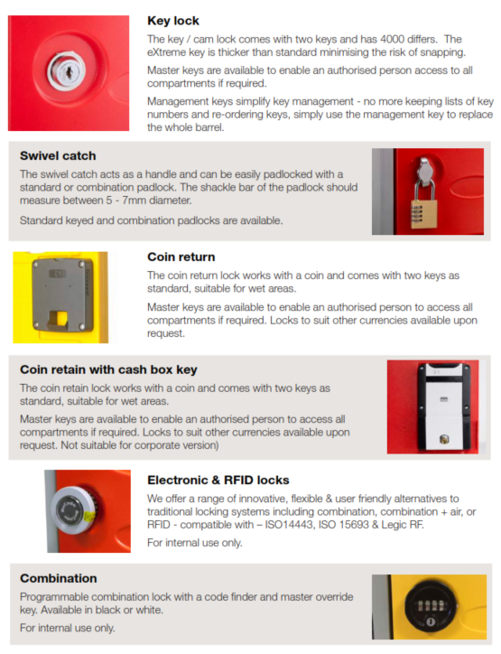 eXtreme Plastic Lockers Lock Options Image