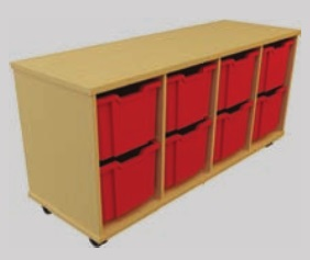 Storage Tray Unit - 8 Large Tray Mobile