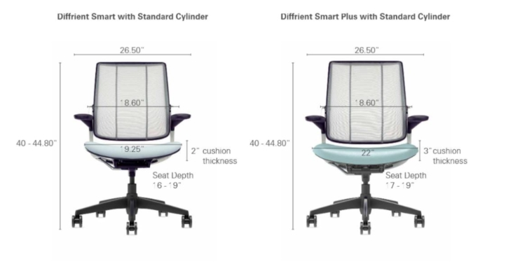 Diffrient Smart Task Chair Dimensions 2