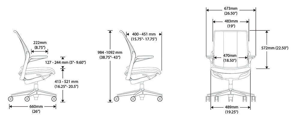 Diffrient Smart Task Chair Dimensions