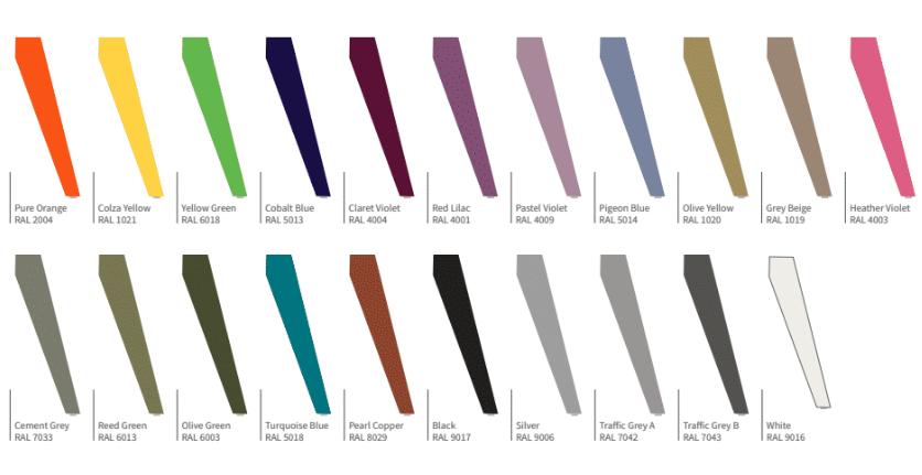 Evolution Bench RAL Frame Colours