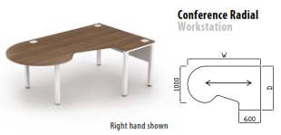 800mm Deep Conference Radial Workstation