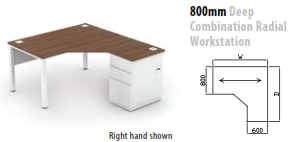 800mm Deep Combination Radial Workstation