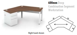 600mm Deep Combination Segment Workstation