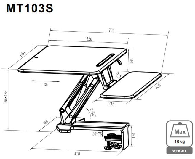 Sit Stand Desk Riser Dimensions