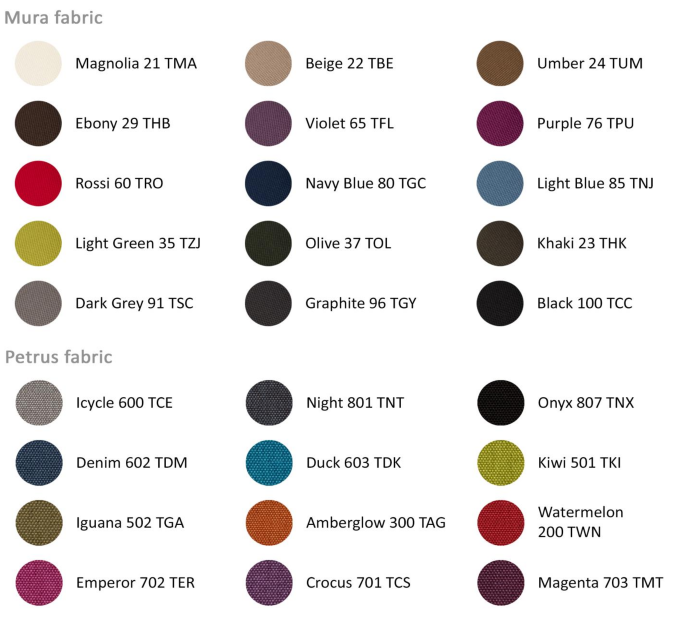 Acoustic Work Pod Fabric Colours