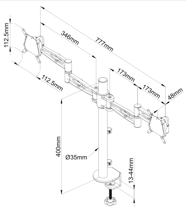Kardo Monitor Arm Dimensions