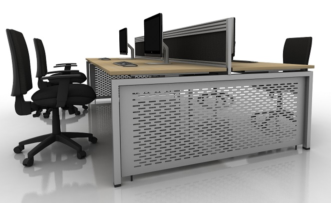 Aero Bench Desk With Mesh Dealer End Panel