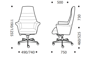 Encore Executive Chair HB Dimensions