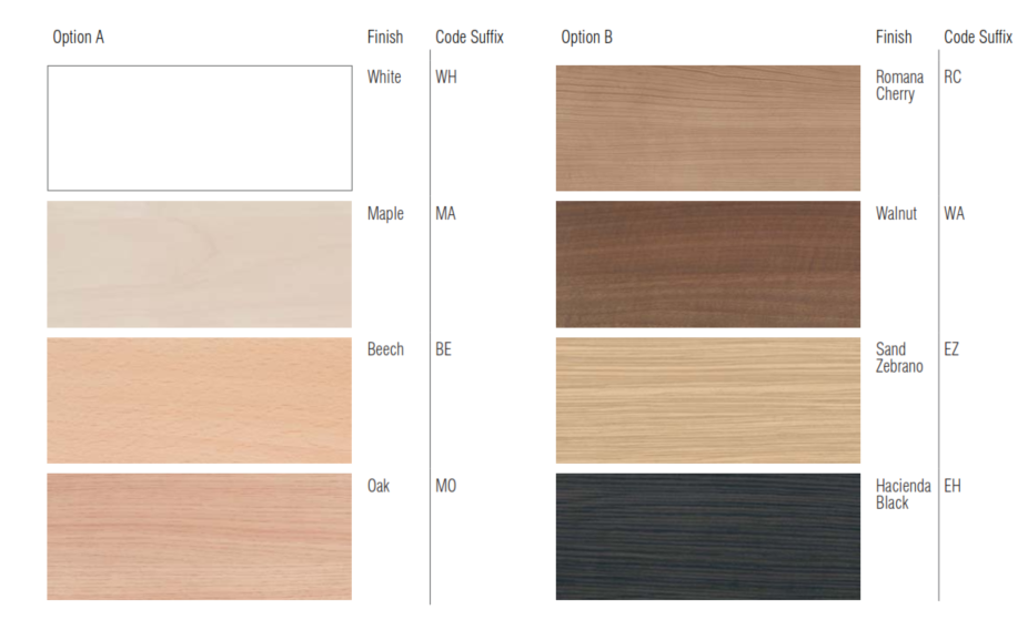 Vega Conference Table Wood Finishes