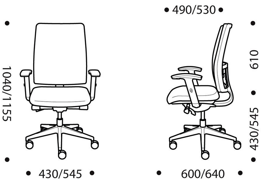 Verdi Task Chair Dimensions