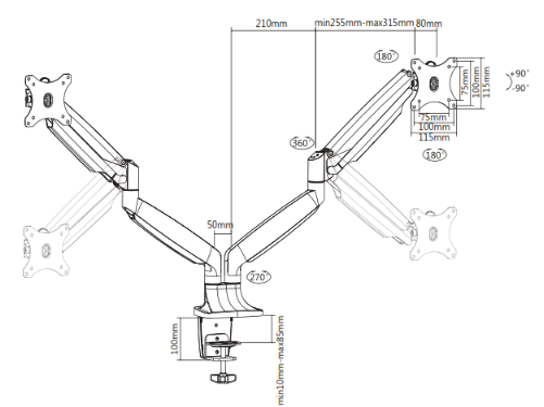Phoebe Monitor Arm Dimensions - duo