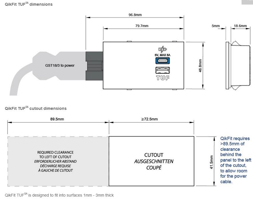 QikFit TUF5A USB Module Dimensions