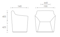 Chamfer Soft Seating - CHAM1 - Dimensions