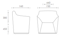 Chamfer Soft Seating - CHAM2 - Dimensions