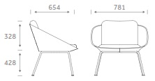 Dishy Soft Seating - DISHY1/4LEG Dimensions