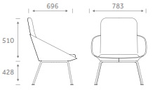 Dishy Soft Seating - DISHY2/4LEG Dimensions