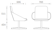 Dishy Soft Seating - DISHY2/SWIVEL Dimensions