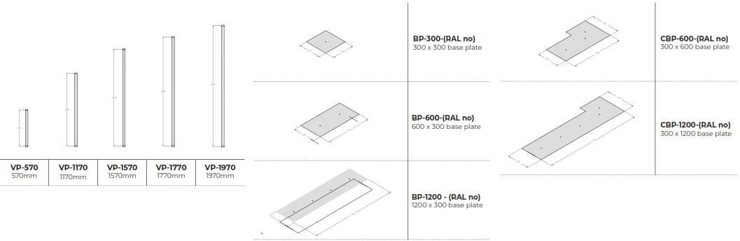 Fabricks Acoustic Brick - Posts Dimensions