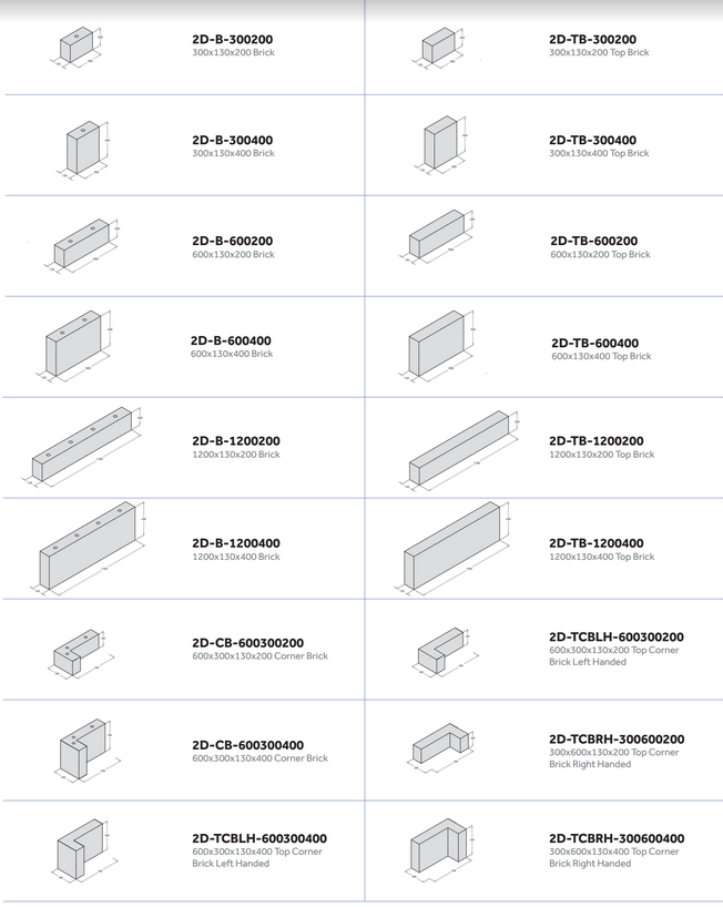 Fabricks Acoustic Brick - 2D Dimensions