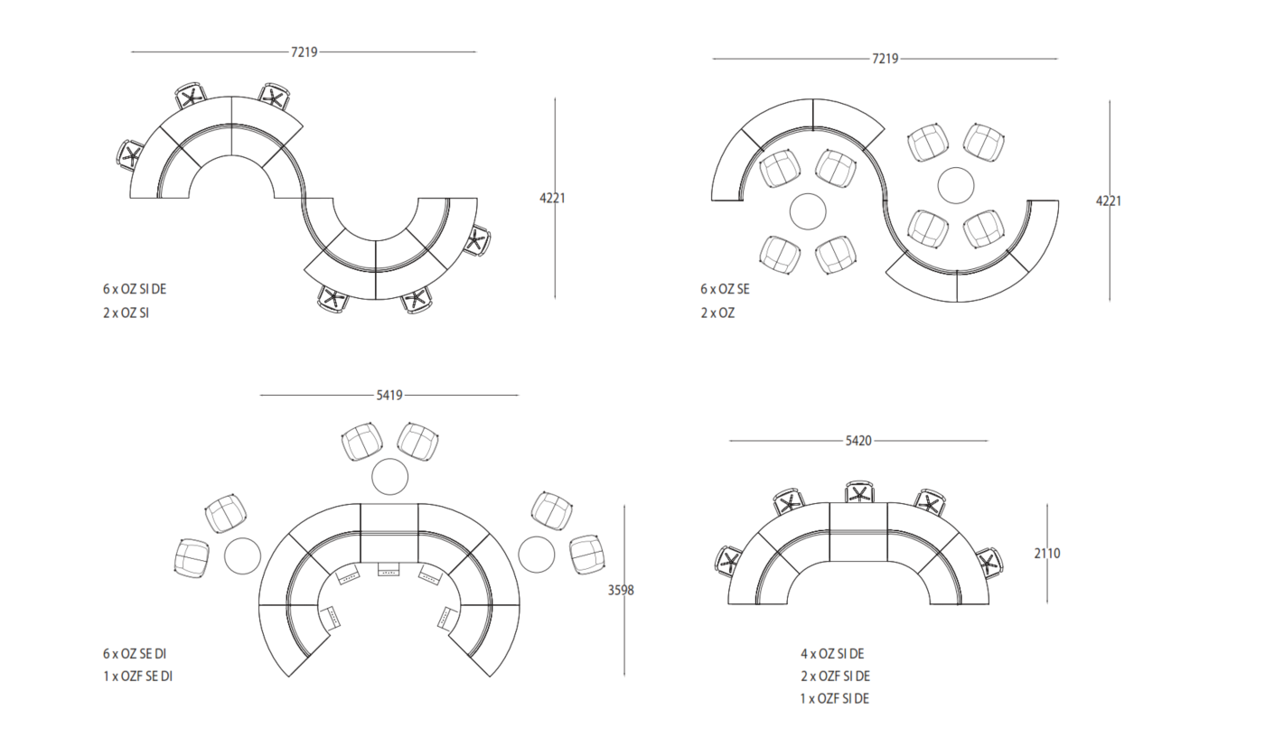 O'zone Modular Seating Example Configurations