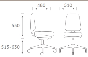 Re-Act Task Chair Model Dimensions
