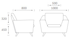 Stretch Soft Seating - STRETCH1 Armchair Dimensions