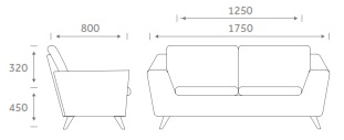 Stretch Soft Seating STRETCH2 - Two Seater Sofa Dimensions