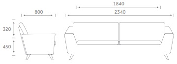 Stretch Soft Seating STRETCH3 - Three Seater Sofa Dimensions