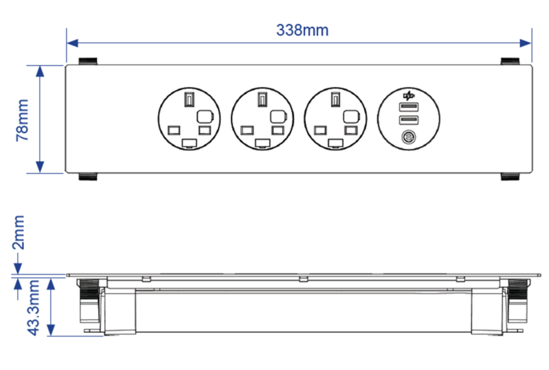 Petra Panel Mount Power Module Dimensions